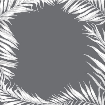 Frame with vector tropical palm leaves.