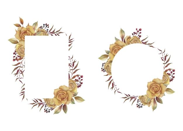 グリーティングカードやウェディングカードの装飾のための水彩画の花の花束とフレーム