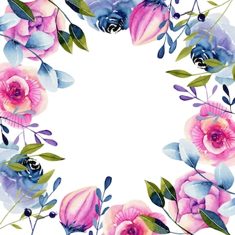Frame with watercolor pink and blue roses and peonies