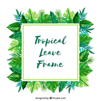 Frame with watercolor tropical leaves
