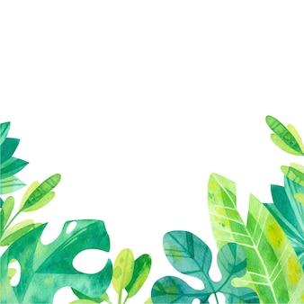 水彩ジャングルの葉とフレーム