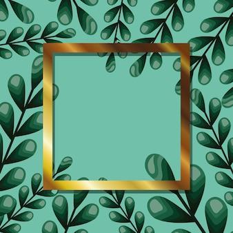 Рамка с белым цветом в дизайне иллюстрации листьев