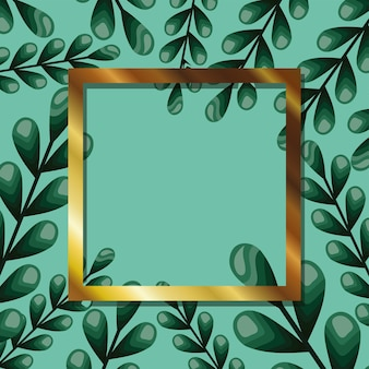 Frame with white color in a leaves illustration design