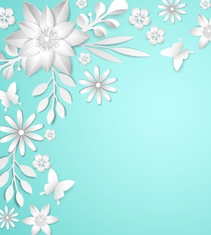 Frame with white paper flowers on blue background.