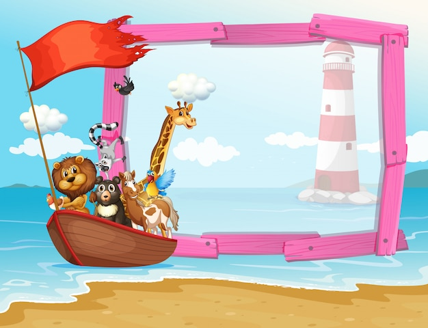 Frame  with wild animals in the boat