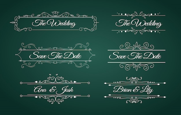 Frame wreath of beautiful save the date collection set