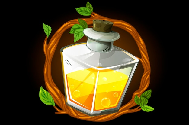 Frame wreath and magic yellow potion in a square bottle