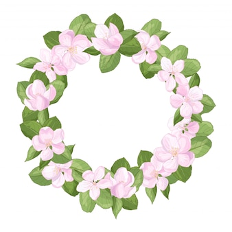 Frame wreath with flowers of apple blossoms