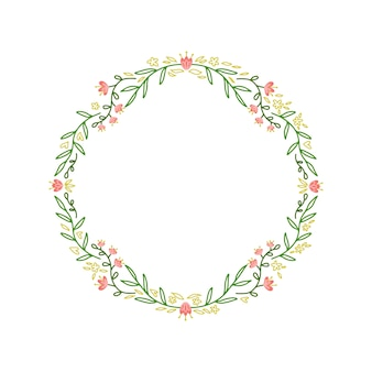 Frame of wreath with leaves and branches.