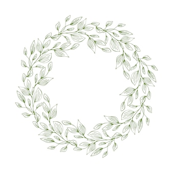 Frame of wreath with leaves and branches