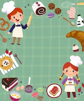 2つの子供のパン屋のコンセプトを焼くためのフレームの背景。