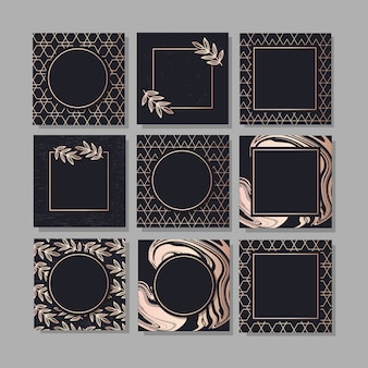 Framed background set with a design gold fashion vector art