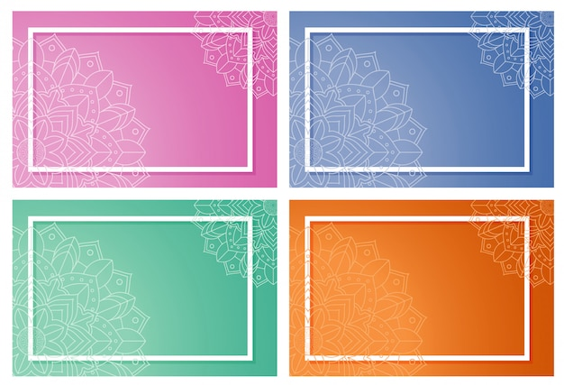 Framed backgrounds with mandala design