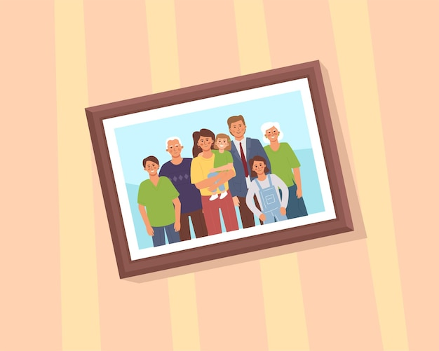 A framed portrait of a large family hanging on the wall. cartoon flat.