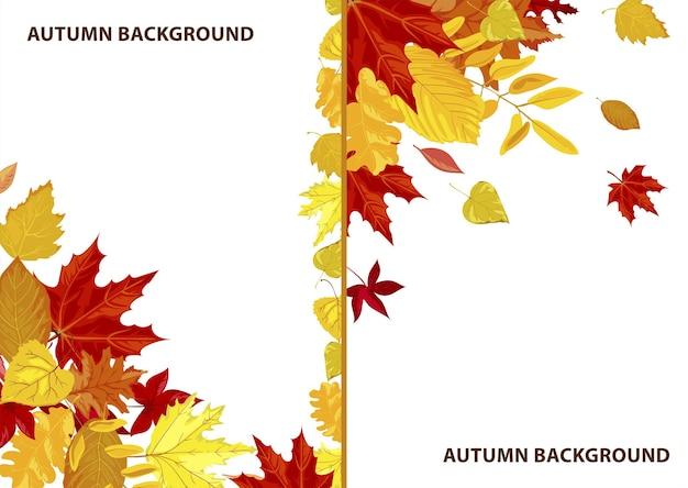 葉のあるフレームと背景、秋をテーマにした装飾的な空のバナーまたはcopyscapeのポスター。販売またはクリアランス、装飾品付きの秋のシーズンのプロモーションマーケティングチラシ。フラットスタイルのベクトル