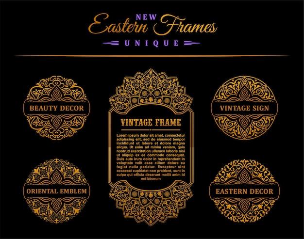 フレームとヴィンテージのゴールドカードとスタンプのデザイン