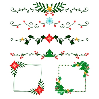 Frames and borders for christmas in flat design
