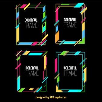 Collezione di cornici con linee colorate
