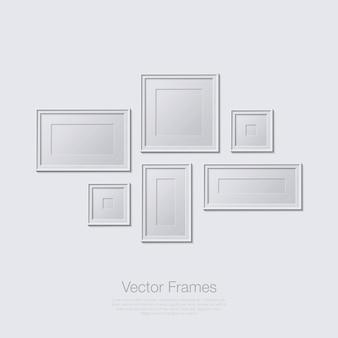 Рамки иллюстрации в плоский дизайн монохромный