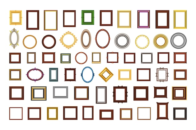 Frames for photos and mirrors Premium Vector