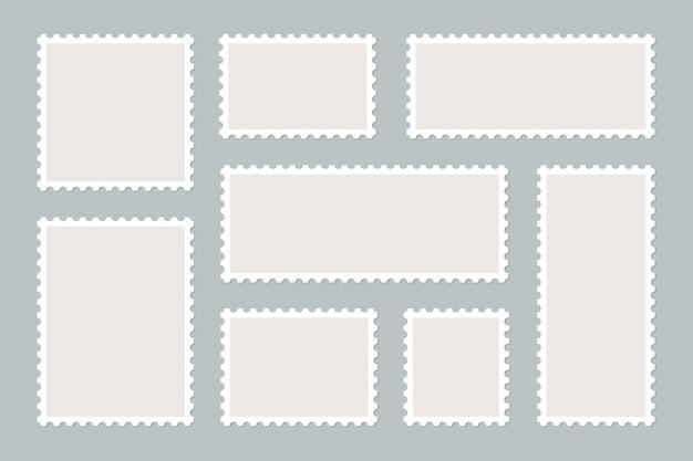 Frames of postage stamps for mail envelopes.