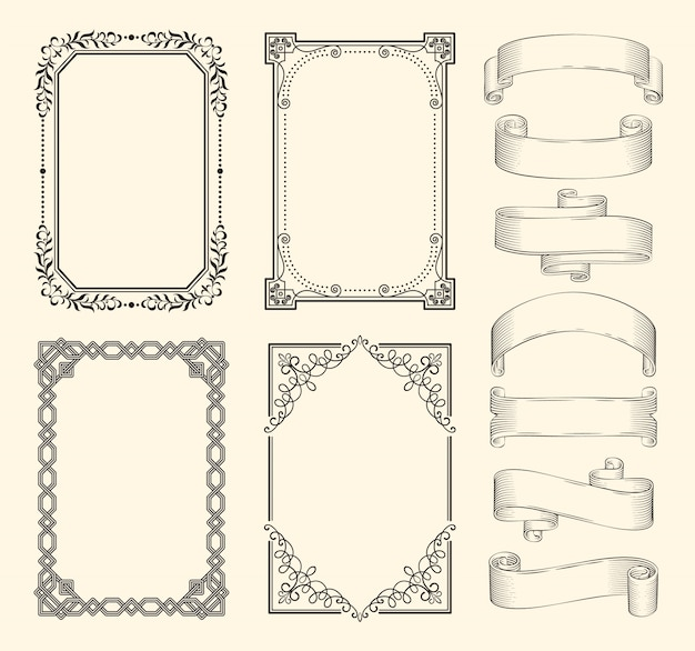 Frames and ribbons monochrome sketch set