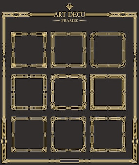 Frames set of art deco gold calligraphic page dividers.