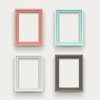 Frames set on white background