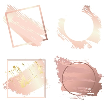 Frames for valentine´s day and christmas set. creative art frames created using grunge stains of gold and pink gold. to style your text, copy space