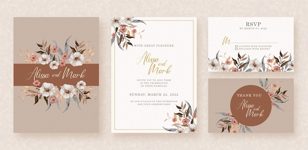 Frames of watercolor flowers on wedding invitation