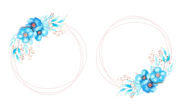 Frames with blue flowers on a round frame on a white isolated background.