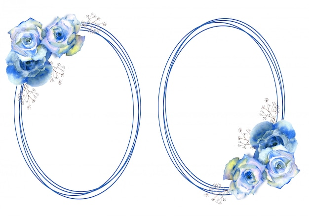 Frames with blue rose flowers on oval frame on white isolated background.