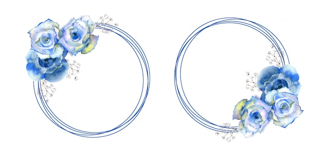 Frames with blue rose flowers on round frame on white isolated background.