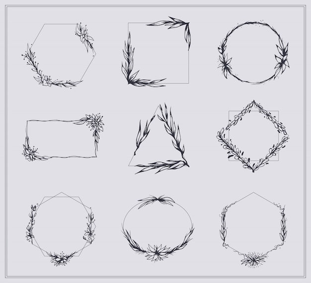 Frames with branches and flowers set