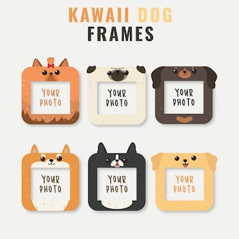 Frames with cute dog heads template