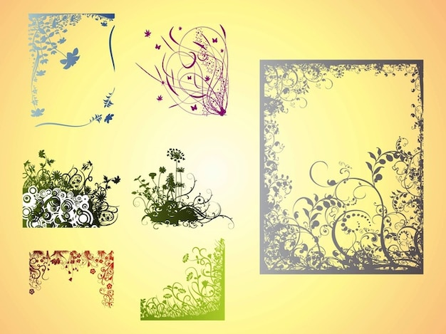 Frames with flowers decorations vector