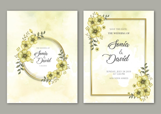 Frames with flowers on yellow card