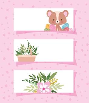 귀여운 곰 1 개와 식물 일러스트 디자인으로 가득 찬 바구니 1 개가있는 프레임