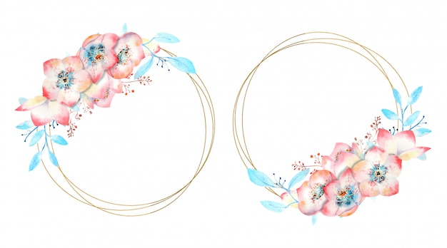 Frames with pink flowers on a round frame on a white isolated background.