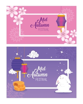 Frames with rabbit lanterns flowers and mooncakes design, happy mid autumn harvest festival oriental chinese and celebration theme