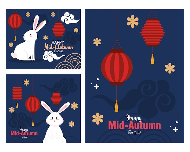 Frames with rabbits and lanterns design, happy mid autumn harvest festival oriental chinese and celebration theme