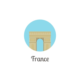 France arch landmark isolated round icon