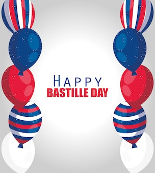 France balloons of happy bastille day design