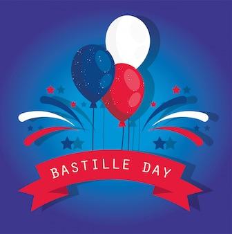 幸せなフランス革命記念日のリボンとフランスの風船