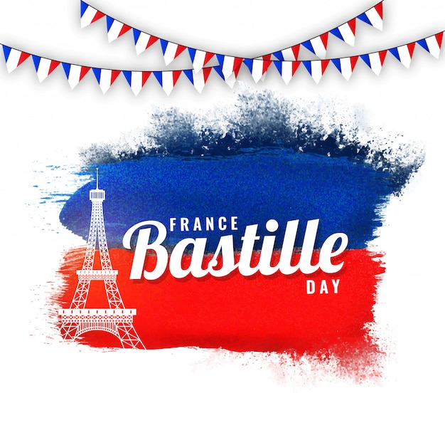 フランスバスティーユの日のコンセプト、エッフェル塔と青と赤の背景に旗旗