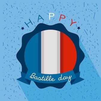 Рамка день взятия бастилии во франции с флагом