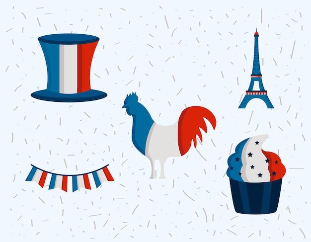 フランスフランス革命記念日セットアイコン