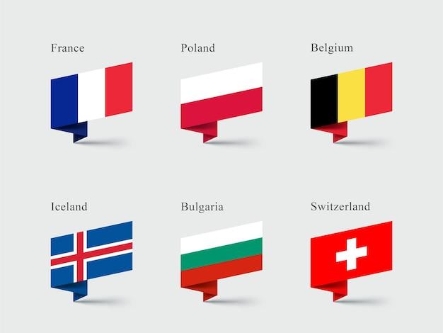 France belgium switzerland flags 3d folded ribbon shapes