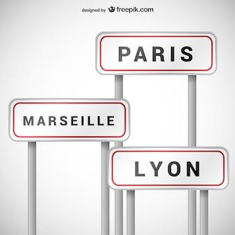フランスの都市の看板