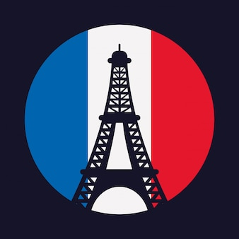 France culture with flag and eiffel tower